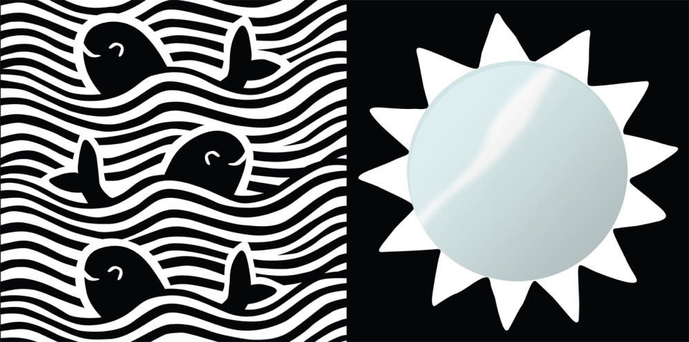 """Two black and white high-contrast panels f (one with mirror) rom """"TummyTime™: Happy Baby,"""" illustrated by Violet Lemay"""