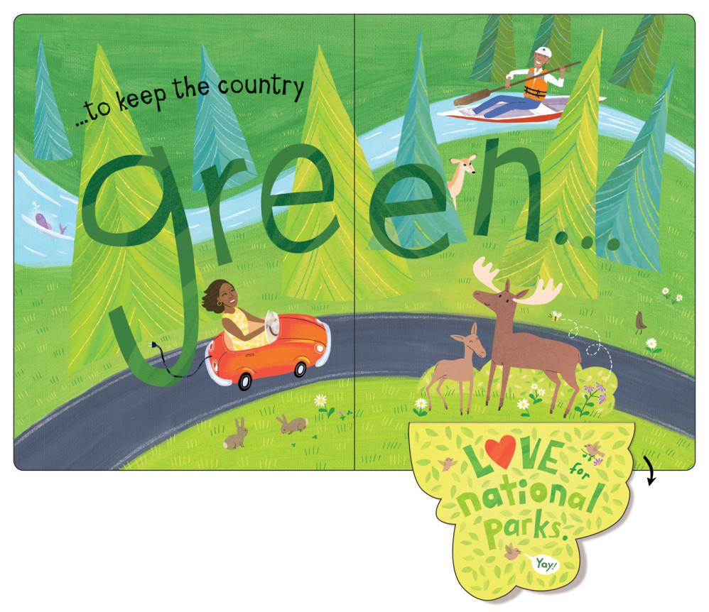 """""""The Obamas: A Lift-the-Flap Book,"""" by Violet Lemay (""""green"""" spread with flap open)"""