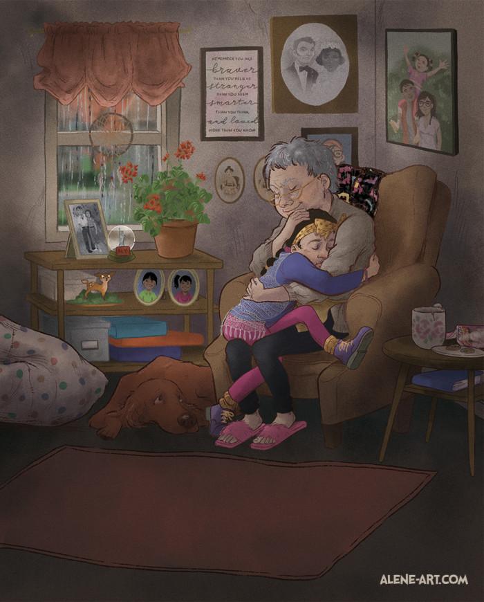 """""""I hug Nana like I hug my blankie during a bad storm."""""""