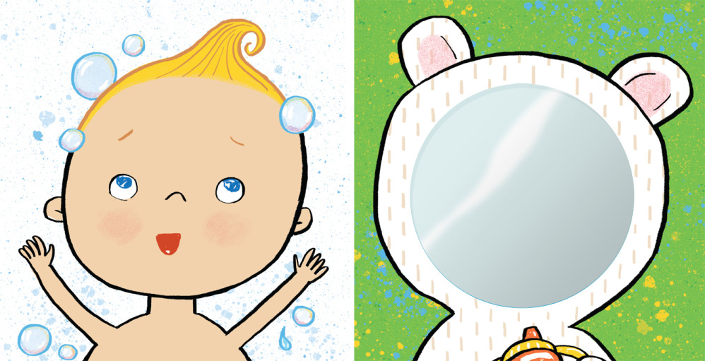 """Two color panels (one with mirror) from """"TummyTime™: Happy Baby,"""" illustrated by Violet Lemay"""