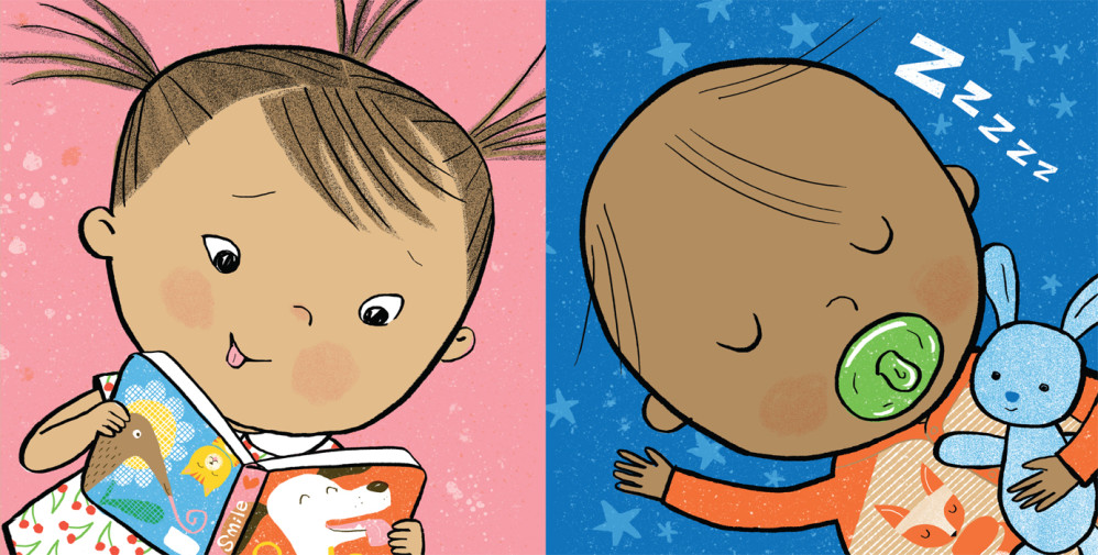 """Two color panels from """"TummyTime™: Happy Baby,"""" illustrated by Violet Lemay"""