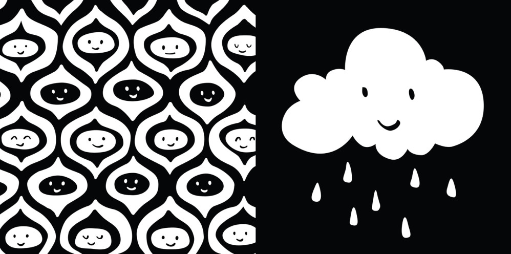 """Two black and white high-contrast panels from """"TummyTime™: Happy Baby,"""" illustrated by Violet Lemay"""