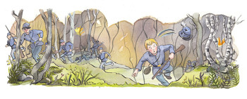 Johnny Clem fleeing battle