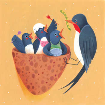 Mummy sparrow feeding her babies