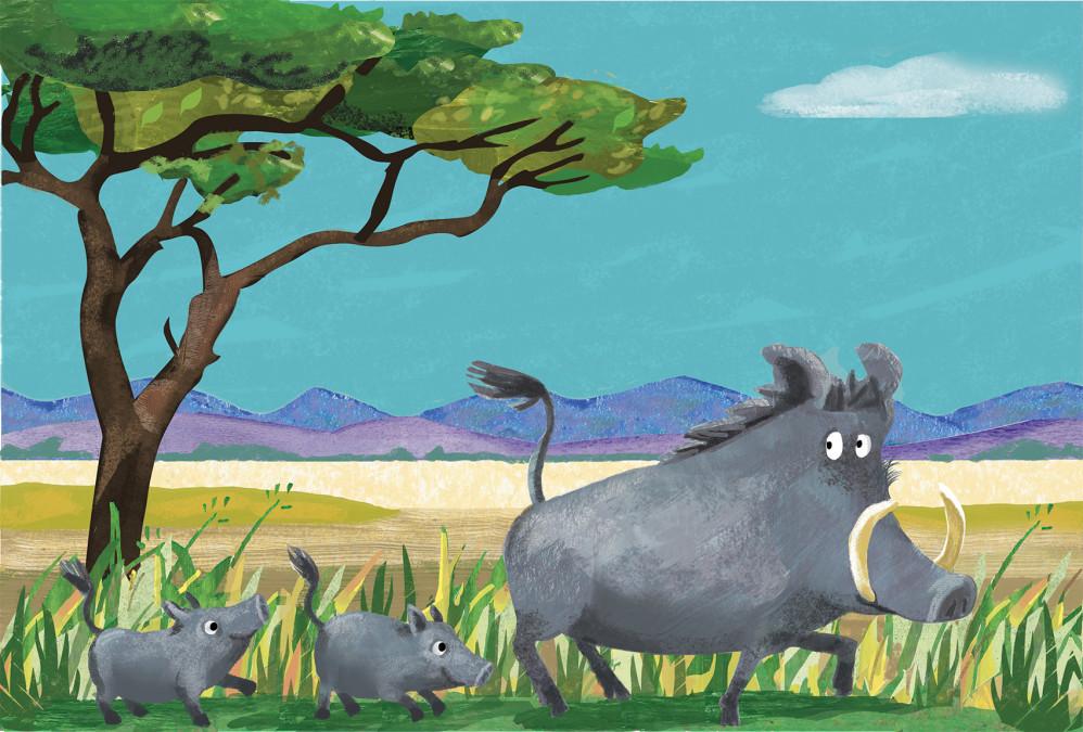 Happy Warthog Family
