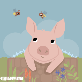 pig on wall