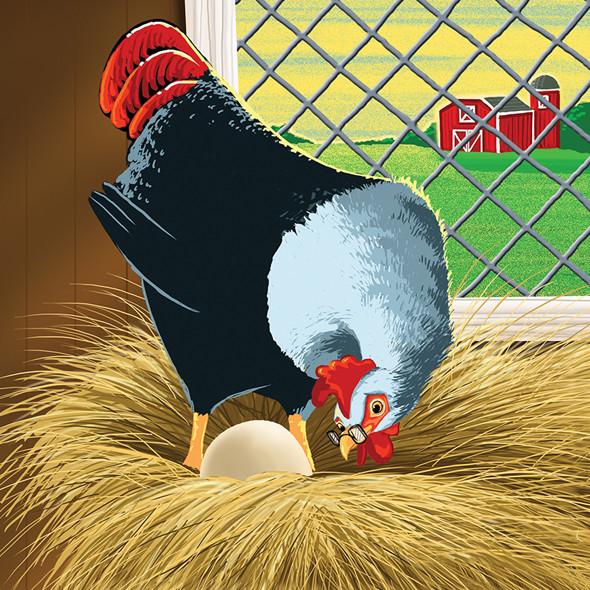 Chicken in the hen house nest