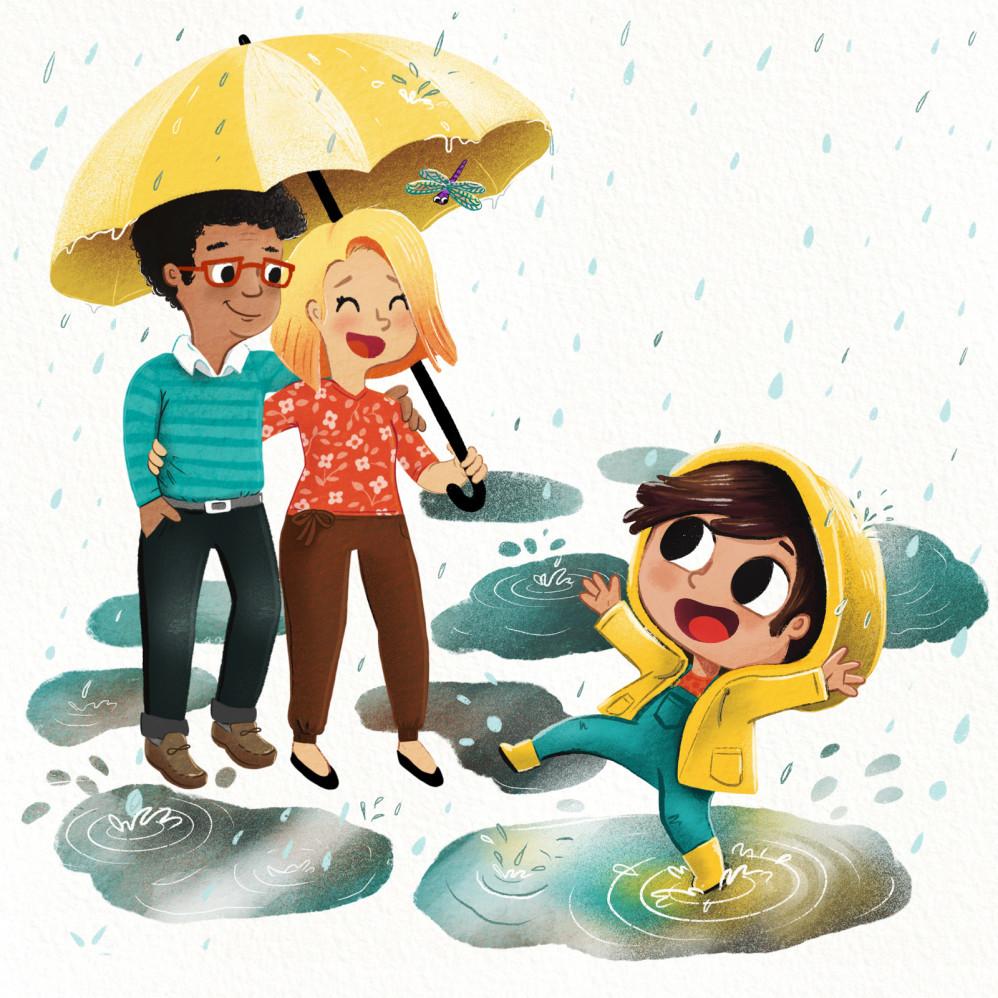 Parents laugh at girl splashing in puddle