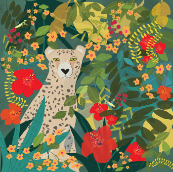 Leopard with flowers and vines