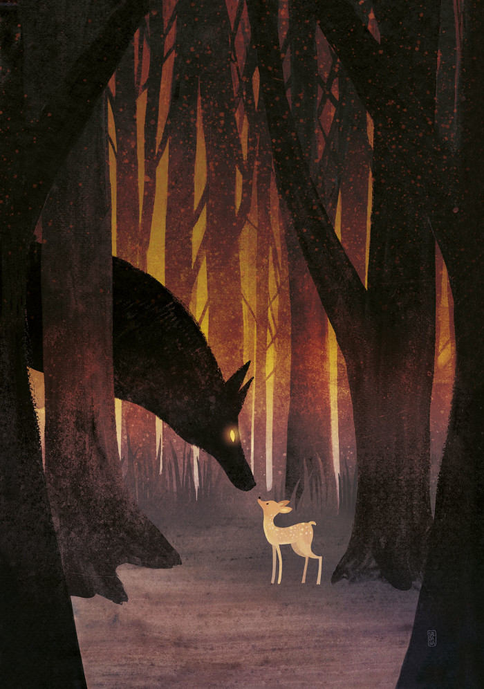 Wolf and fawn