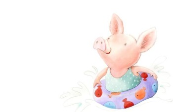 Pig at the pool