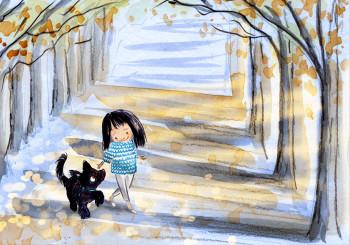 Black dog finds his sunshine