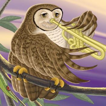 Owl Tooting a Horn