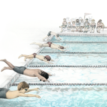 """""""Take Your Mark..."""" swim tryptich, 1 of 3"""