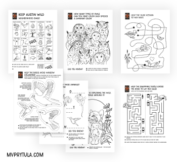 Coloring pages and activity sheets for Austin Wildlife Rescue