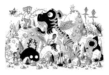 Creatures and children on rocks