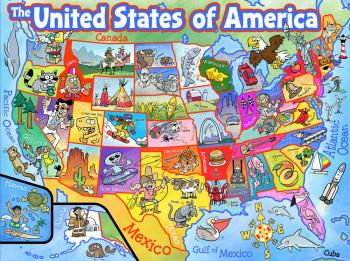 USA Map Cartoon