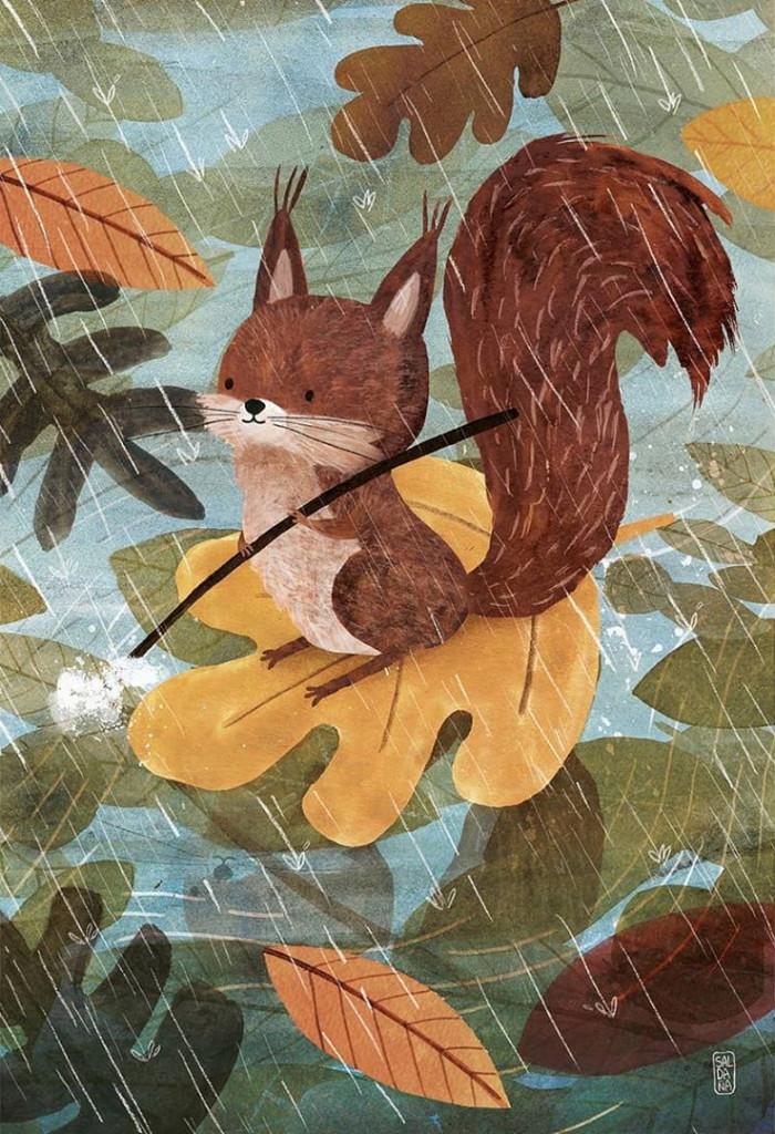 Squirrel on river trip