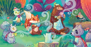 Hot Cocoa Calm: All the animals blow on their cocoa
