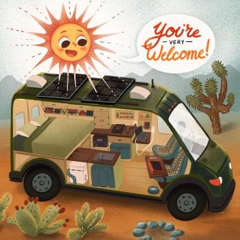 Camper van interior and solar power illustration