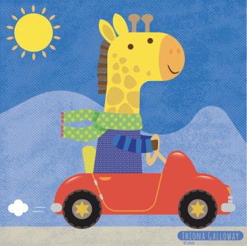 giraffe in car
