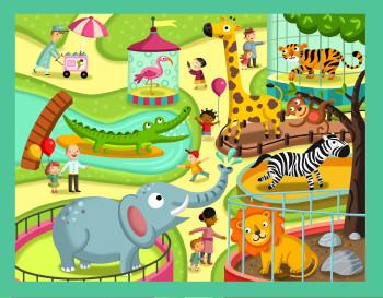 At the zoo, magnetic box//Magnet Box – Thinking kits // 4M toys, // Hong Kong