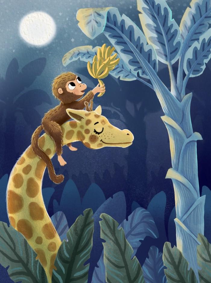 Giraffe helping monkey to reach bananas