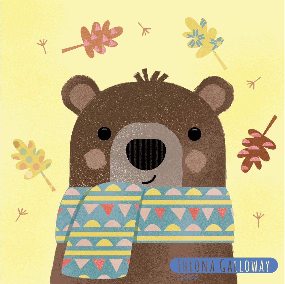 bear in scarf