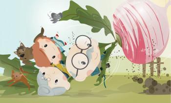 Illustration from `The Gigantic Turnip` children`s book