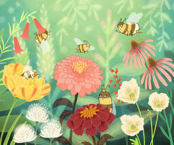Bella Bee and Friends Pollinate Flowers