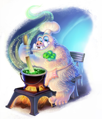 Yeti cooked with flare and secret spices