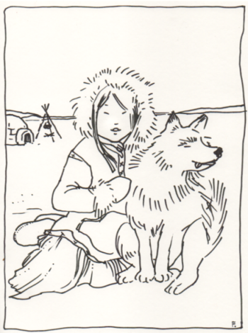inuit girl and dog