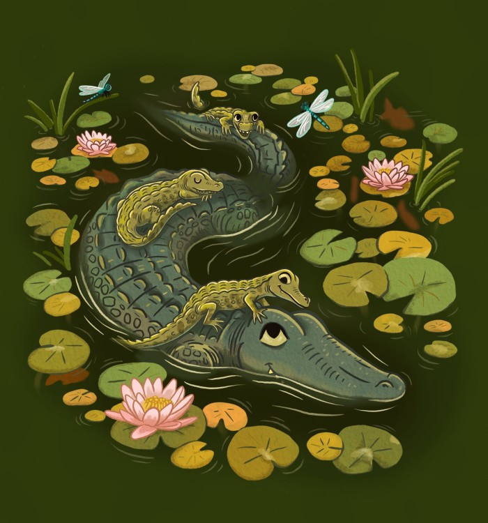 Alligator family with lily pads and dragonflies