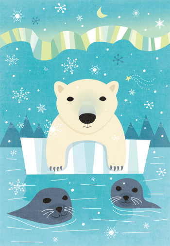 Polar Bear and Northern Lights