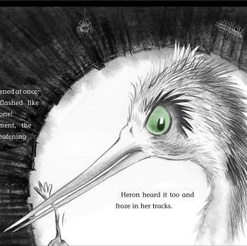 Heron - taddies in log