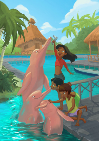Playing with pink dolphins.