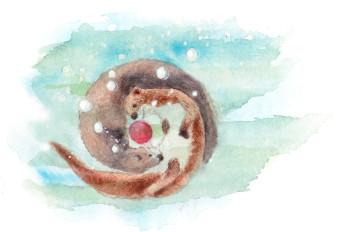 Otters underwater