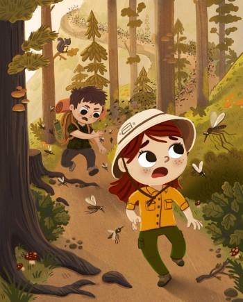 Kids running from mosquitos