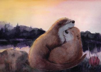 Together otter snuggle