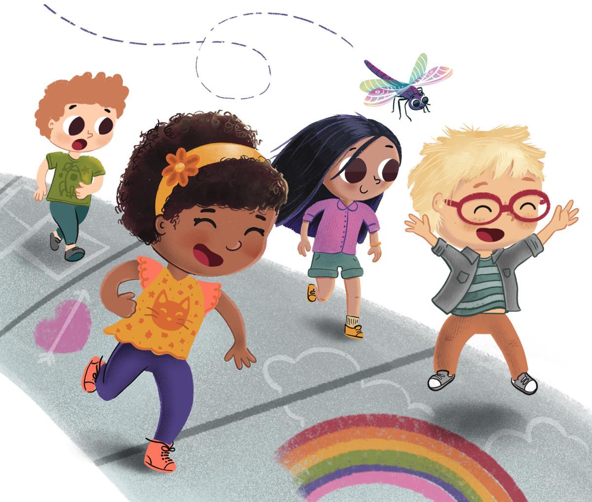 Characters running alongside dragonfly on sidewalk