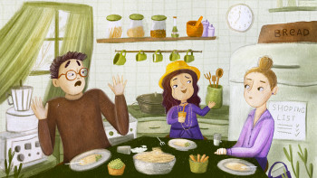 The Family in the kitchen