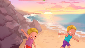 Flying kites in the Galapagos