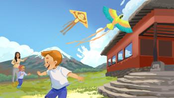 Fying kites near the Chimborazo